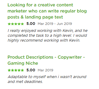 Content writer reviews